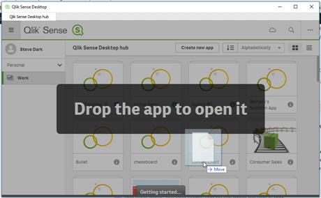 Drag and Drop applications into Qlik Sense Desktop Hub