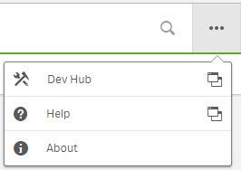 Qlik Sense Dev Hub Menu