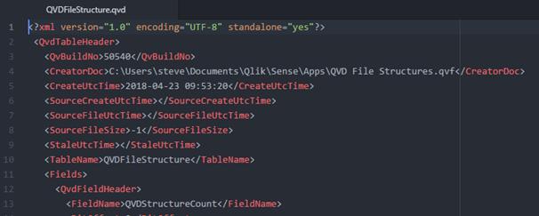 QVD XML Header