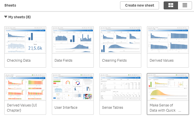 Qlik Sense Training App Thumbnails