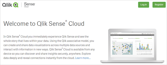Screengrab of the Qlik Cloud Welcome Page