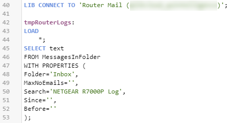 Code To Load Router Logs