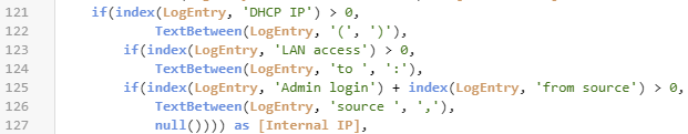 Parse Log For Internal IP