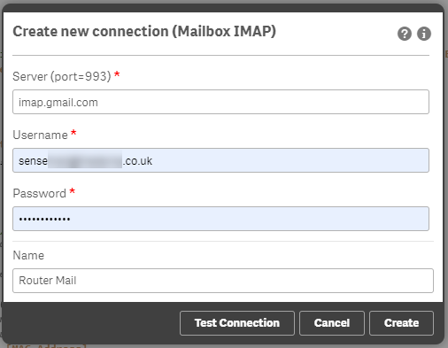 Qlik Sense IMAP Settings