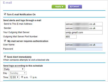 Netgear R7000P Email Configuration